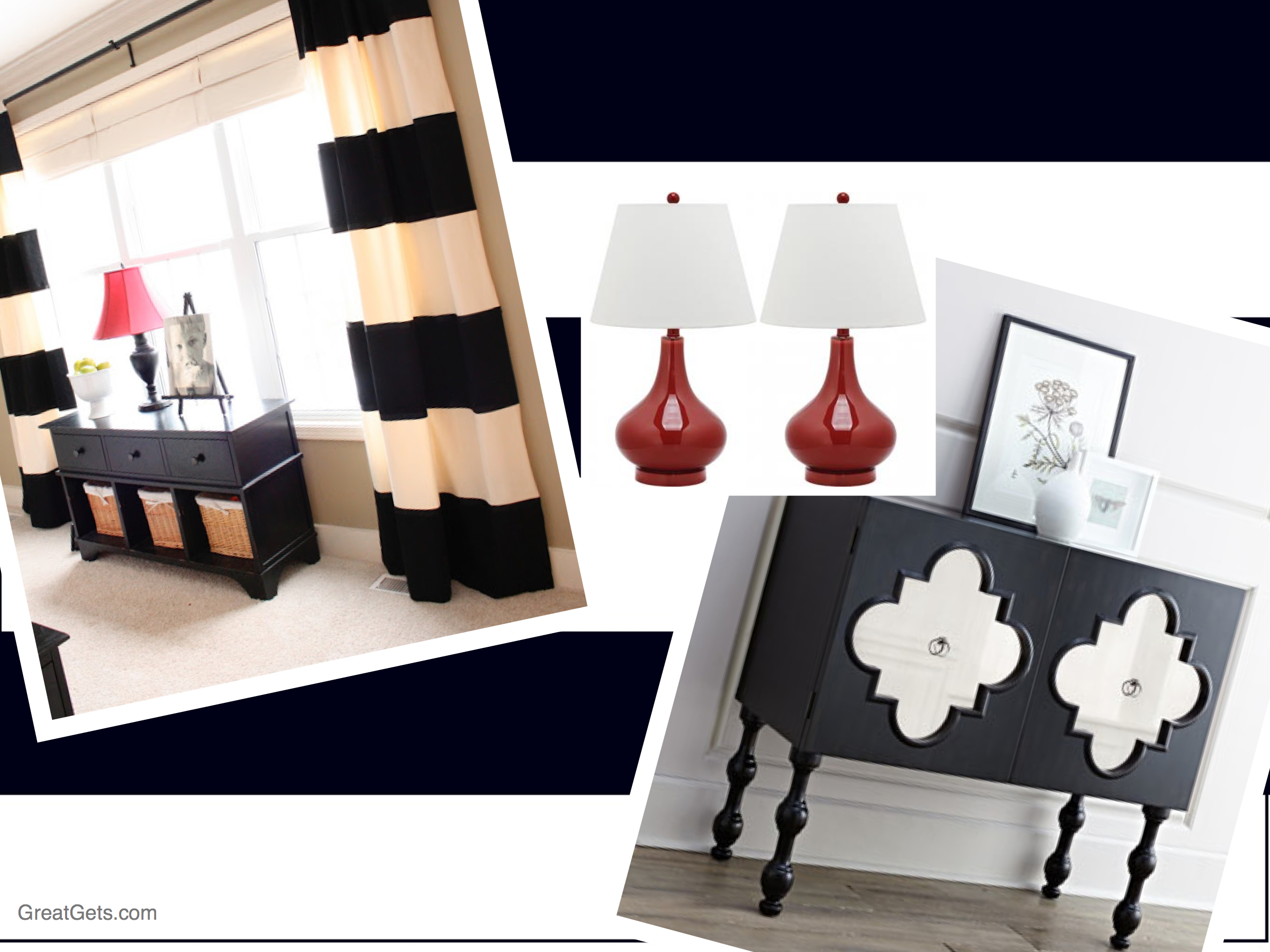 Black & White Striped Curtains Create Living Room Focal Point